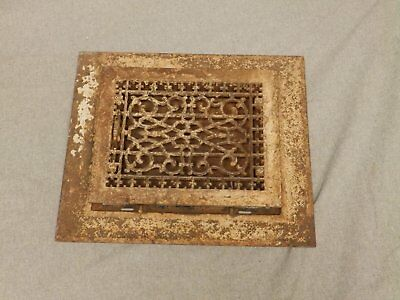 Antique Cast Iron Heat Grate Vent Register Surround Old Vtg Hardware 610-16