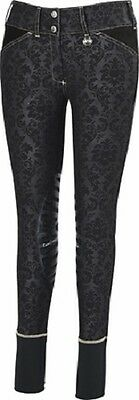 EQUINE COUTURE Natasha Damask Breeches Knee Patch Black Size 26