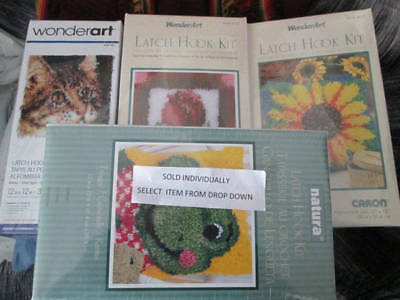 Caron Latch Hook Kit 12x12 Inches Your Choice-Froggy/Tabby Cat/Little Rose OR Su