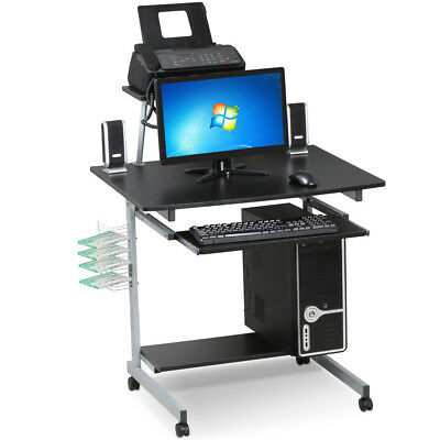 Mobile Computer Desk with Keyboard Tray,Printer Shelf and Monitor PC Stand Black