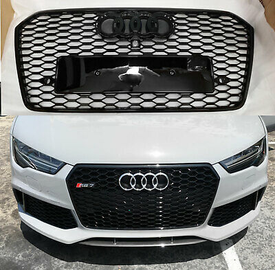 S7 Style Gloss Black Grille Grill With Black Rings Fits 2016 18 Audi