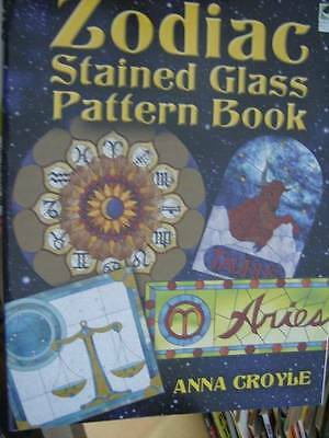 Zodiac Stained Glass Pattern Book By Anna Croyle, Most Pictured, Dover, Paperbac