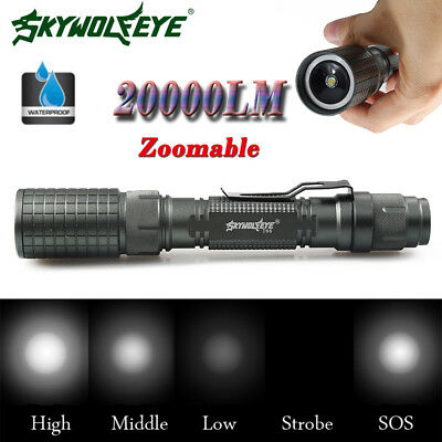 6000LM Zoomable CREE XM-L T6 LED 18650 Flashlight Focus Torch Lamp Light