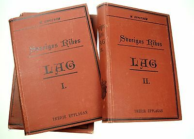 Swedish Law 1889 2 Books with special case / Sveriges Rikes Lag 1 and 2 Nr6727
