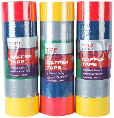 6/12/24/48 Rolls Gaffa Gaffer Cloth Duct Duck Tape 10m x 48mm Assorted Colours