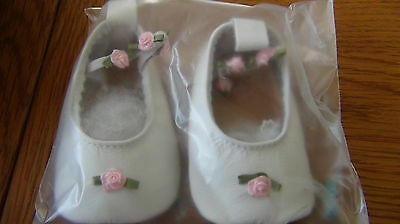 Christening Shoes Baby Girls Daisy Roots Soft White Leather Infant 0-6 months