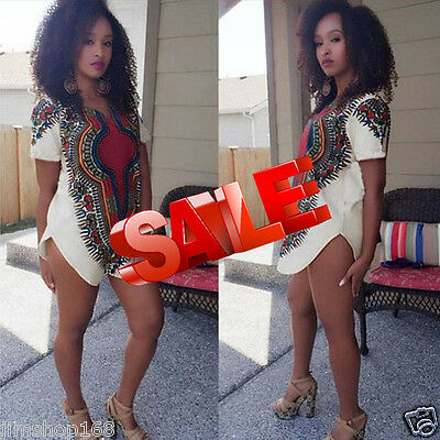 Women Traditional Tribal African Dashiki Party Hippie Blouse Mini Shirt Dresses