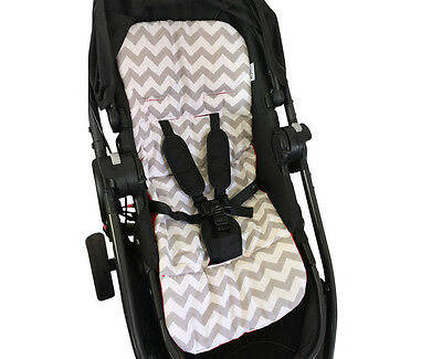 PRAM LINER GOOSEBERRY Grey CHEVRON Cotton Universal Quality Soft Reversible Red