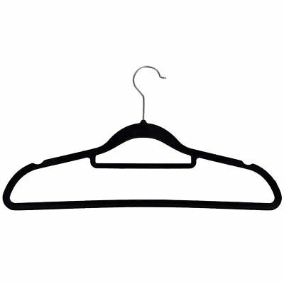 Velvet Coat Hangers Black Set Of 50 Non-Slip Clothes Garment Hanging Storage