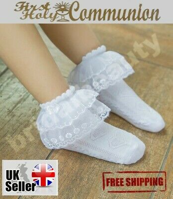 Flower Girls Frill Ankle Socks 1st First Holy Communion Wedding Confirmation