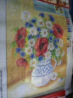 Orchidea Bouquet Of Wild Flowers Needlepoint Canvas 11.75x15.75 Inches