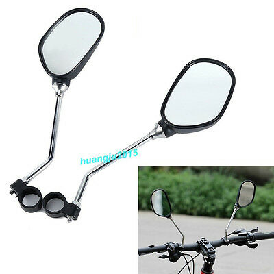 2 x Bicycle Mobility Handlebar Mirror Glass Mountain Road Bike Pair + Reflectors