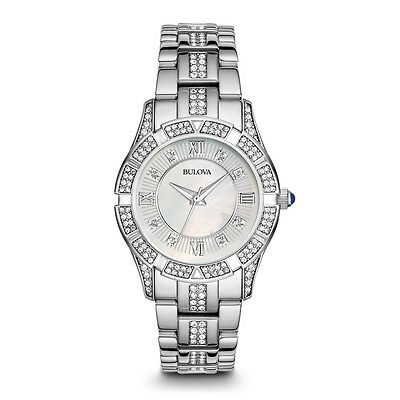 Women's Stainless Steel Mother-of-Pearl Swarovski Crystal-Accented Watch 96L116