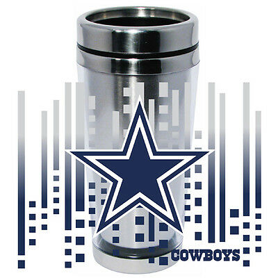 Dallas Cowboys Logo Travel Mug Tumbler Stainless Steel NEW Clear Insert