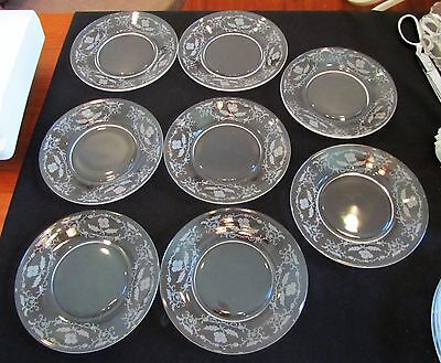 "8 Vintage Fostoria Shirley 6"" Bread and Butter Plates Exc Condition"