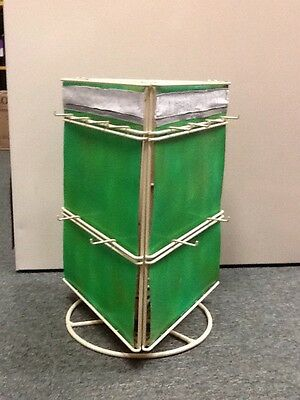 Metal Rotating Hanging Item Display - Green and White - 18 Hooks - USED