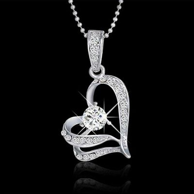 Fashion Women Heart Crystal Rhinestone Chain Silver Pendant Necklace Jewelry new