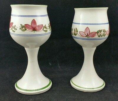 Pair of Vintage Hand Crafted Iden Rye Pottery Wine Goblets in Floral Vine Design