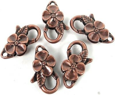 25x14mm Large Antique Copper Pewter Flower Lobster Claw Clasps (5)