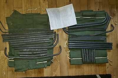 2 Vintage 3 in 1 camp beds, metal and canvas as used by Scouts