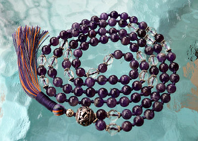 Amethyst & Crystal Quartz 6mm 108+1 Hand Knotted Mala Beads Necklace - Energized