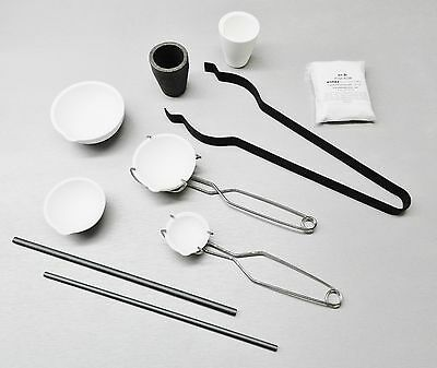 Jewelry Melting Kit Smelting Gold Silver Set - Crucibles Tongs Stir Rods & Flux