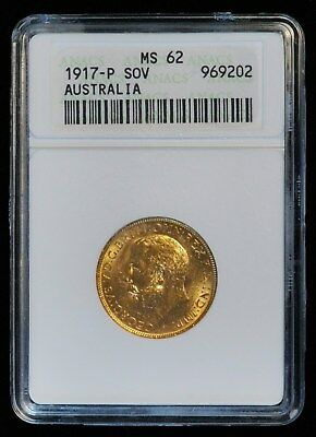 1917 P SOV Australia Full Sovereign Gold Coin  (ANACS MS 62 MS62) (2550)