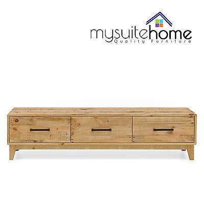 Portland Solid Recycled Pine Timber TV Entertainment Unit with Storage Drawers