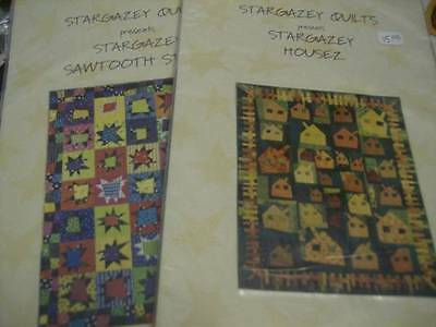 Stargazey Quilt Sewing PATTERN Your Choice Planez, Sawtooth Starz OR Housez