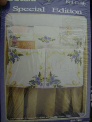 Bucilla Forget Me Not Crewel Embroidery Bed Caddy Stamped Fabric- 12.5x19 Inches