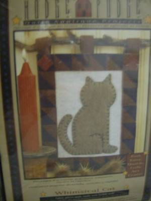 Whimsical Cat Felt Quilt Applique Craft Kit- Hodge Podge- 8x10 Inches