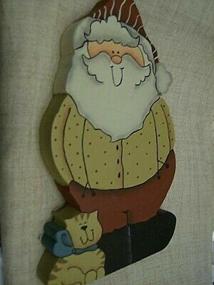 3 Finished Tole Painted Santas -Height- Holly 6 Inches & Cat 7.5 Inches Blue/Gre