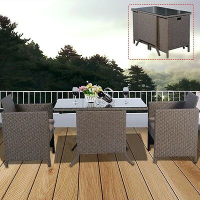 Garden Rattan Furniture Outdoor Coffee Table Bistro Patio Chairs Seat Dining Set