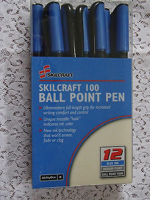 12 Pack Skilcraft 100 Ball Point Pens Blue Ink Medium Point  Ultramodern Grip