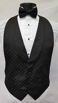 Medium Mens Black Tuxedo Low Cut Vest & Bowtie Formal Waistcoat Costume Tie Set