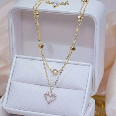 Fashion Women Retro Heart Angel Wing Crystal Pendant Long Chain Necklace Jewelry