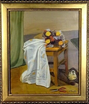 Exquisite ca.1970 French Floral Display w/Table Cloth Painting Oil/Canvas/Frame