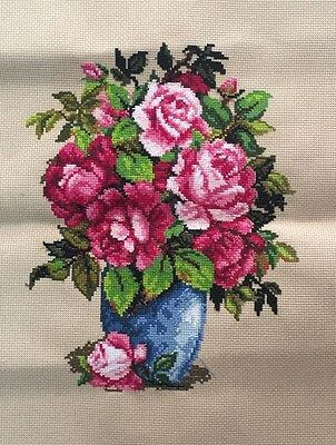 "New Completed finished cross stitch needlepoint""FLOWERS VASE""home decro"