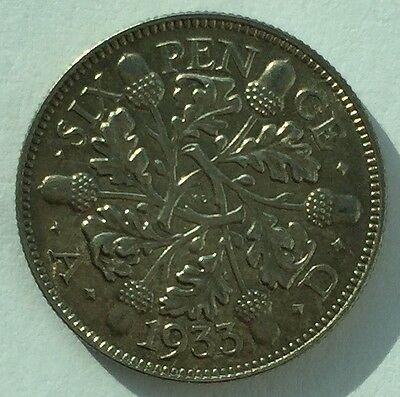 1933 George V Sixpence coin, beautiful condition - Free Postage