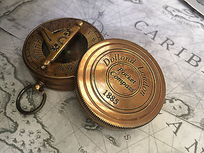 Nautical Gift Antique Pocket Sundial Compass Brass Sun Dial Compass Sundial