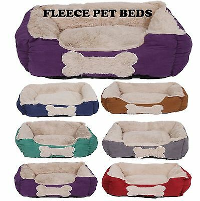 Pet Basket Soft Comfy Fabric Washable Dog Cat Warm Bed with Fleece cosy Beds