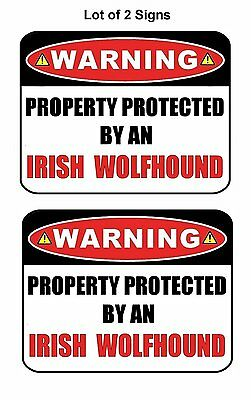 2 Count Warning Property Protected by Irish Wolfhound Laminated Dog Sign w/Decal