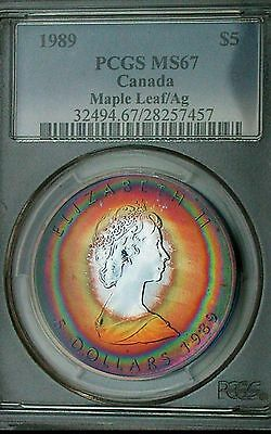 1989 PCGS MS67 Silver Canadian Maple Leaf $5 Monster Rainbow Target Toned-Tone