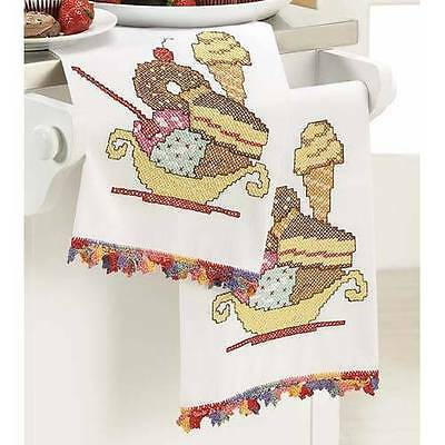 Herrschners Balanced Diet Towel Pair Stamped Linens To Cross Stitch/Embroider