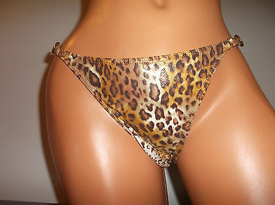 Sauvage Thong Leopard Print Wet Look Shine Suit Bottoms Medium