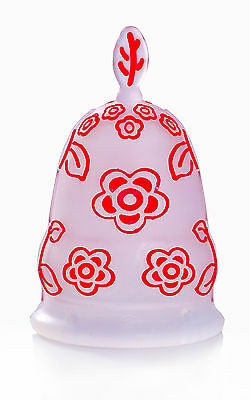 Luv Ur Body Silicone Menstrual Cup - Red Flowers - Small