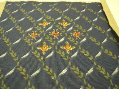 Finished Floral With Petit Point Flowers Needlepoint Picture 17.5x16.5 Inches