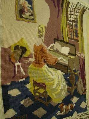 Finished The Music Room Anchor Needlepoint Picture 15.5x19 Inches