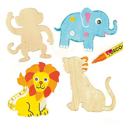 Safari Animal Wooden Shapes for Children to Decorate and Display (Pack of 8)