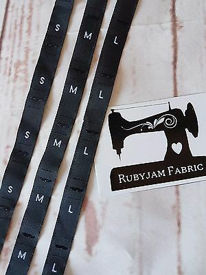 60 pack of S M L size clothing labels black sew in woven tags FREE POST from AU